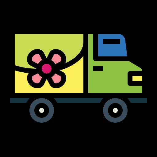 furgone che consegna fiori a domicilio