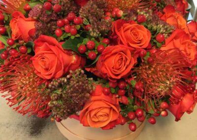composizione flower box rosso