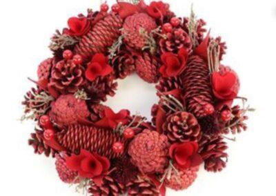 decorazioni con fiori natalizie rosse per copre